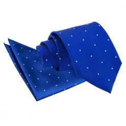 Royal Blue Pin Dot Tie & Pocket Square Set