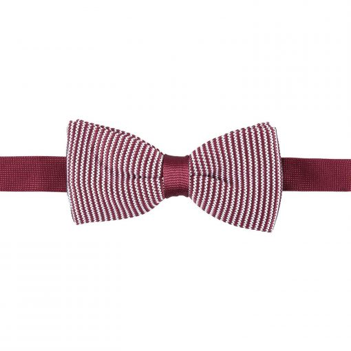 White and Black Pin Stripe Knitted Pre-Tied Bow Tie