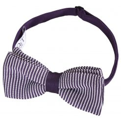White and Purple Pin Stripe Knitted Pre-Tied Bow Tie