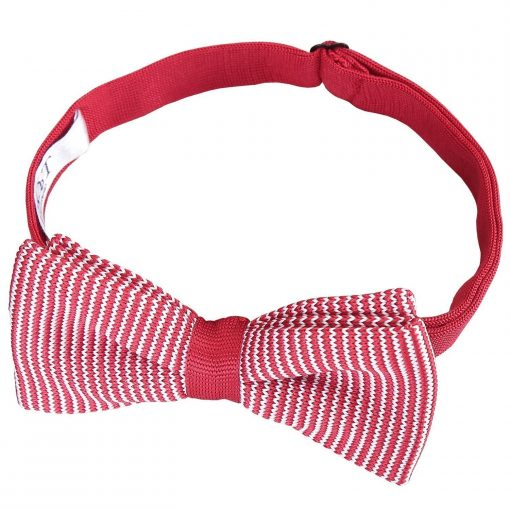 White and Red Pin Stripe Knitted Pre-Tied Bow Tie