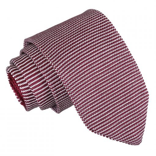 White and Burgundy Pin Stripe Knitted Slim Tie
