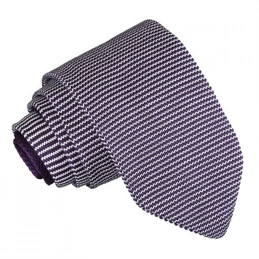White and Purple Pin Stripe Knitted Slim Tie