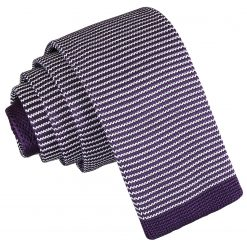White and Purple Pin Stripe Knitted Skinny Tie