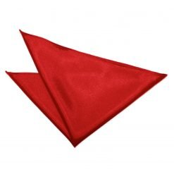 Apple Red Plain Satin Pocket Square