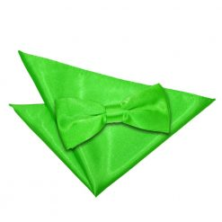 Apple Green Plain Satin Bow Tie & Pocket Square Set