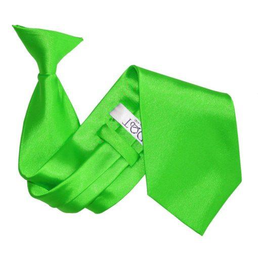 Apple Green Plain Satin Clip On Tie