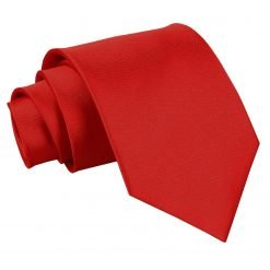 Apple Red Plain Satin Classic Tie