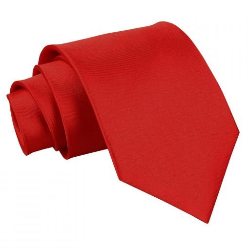 Apple Red Plain Satin Classic Tie