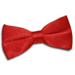 Apple Red Plain Satin Pre-Tied Bow Tie