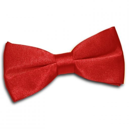 Apple Red Plain Satin Pre-Tied Bow Tie