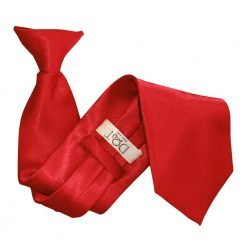 Apple Red Plain Satin Clip On Tie