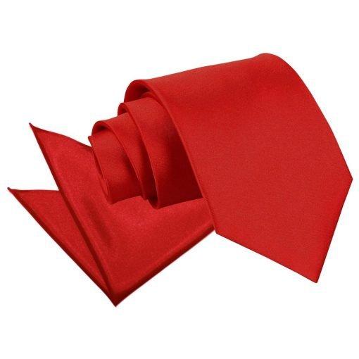 Apple Red Plain Satin Tie & Pocket Square Set