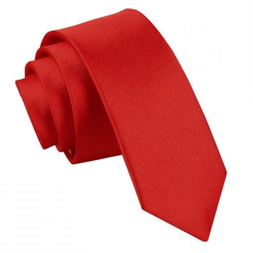 Apple Red Plain Satin Skinny Tie
