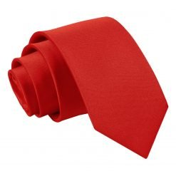 Apple Red Plain Satin Slim Tie