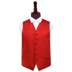 Apple Red Plain Satin Wedding Waistcoat