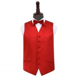 Apple Red Plain Satin Wedding Waistcoat & Bow Tie Set