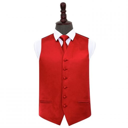 Apple Red Plain Satin Wedding Waistcoat & Tie Set