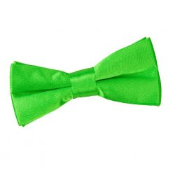 Apple Green Plain Satin Pre-Tied Bow Tie for Boys