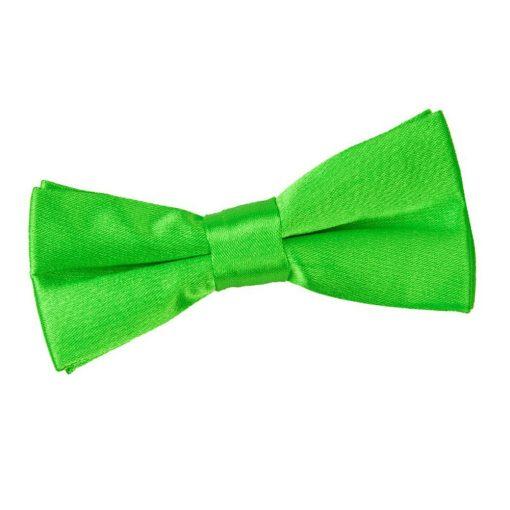 Apple Green Plain Satin Pre-Tied Bow Tie for Boys