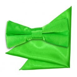 Apple Green Plain Satin Bow Tie & Pocket Square Set for Boys