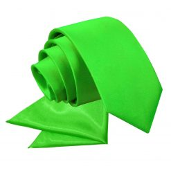 Apple Green Plain Satin Tie & Pocket Square Set for Boys