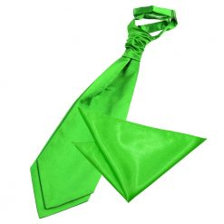 Apple Green Plain Satin Wedding Cravat & Pocket Square Set