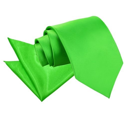 Apple Green Plain Satin Tie & Pocket Square Set