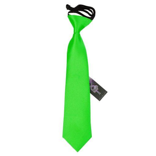 Apple Green Plain Satin Elasticated Tie for Boys
