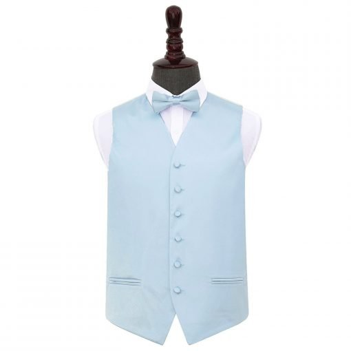 Baby Blue Plain Satin Wedding Waistcoat & Bow Tie Set