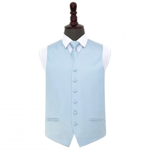 Baby Blue Plain Satin Wedding Waistcoat & Tie Set