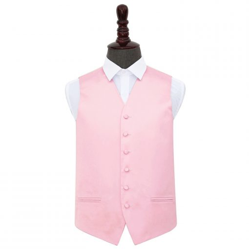 Baby Pink Plain Satin Wedding Waistcoat