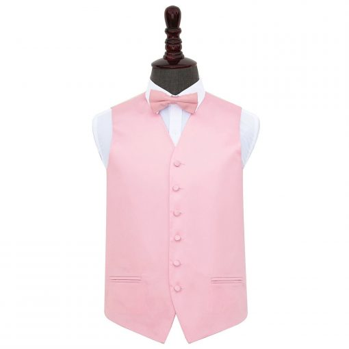 Baby Pink Plain Satin Wedding Waistcoat & Bow Tie Set