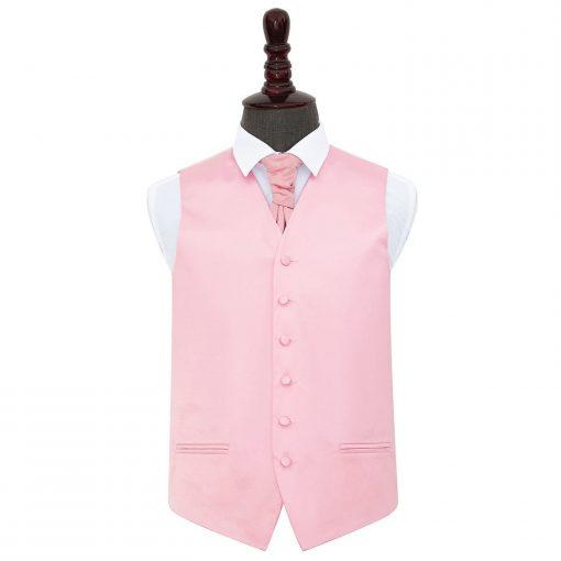 Baby Pink Plain Satin Wedding Waistcoat & Cravat Set