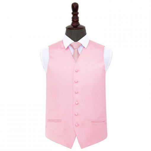 Baby Pink Plain Satin Wedding Waistcoat & Tie Set