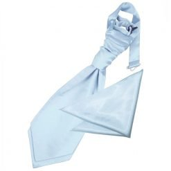 Baby Blue Plain Satin Wedding Cravat & Pocket Square Set for Boys
