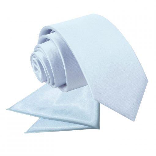 Baby Blue Plain Satin Tie & Pocket Square Set for Boys