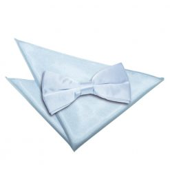 Baby Blue Plain Satin Bow Tie & Pocket Square Set