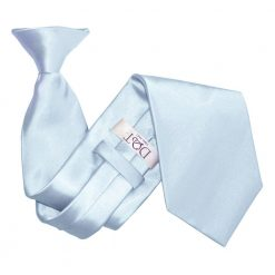 Baby Blue Plain Satin Clip On Tie
