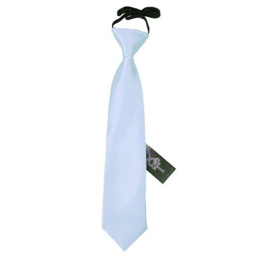 Baby Blue Plain Satin Elasticated Tie for Boys