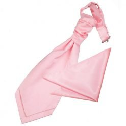Baby Pink Plain Satin Wedding Cravat & Pocket Square Set for Boys