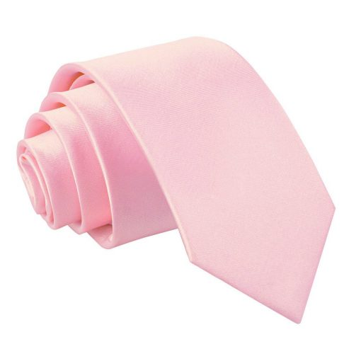 Baby Pink Plain Satin Regular Tie for Boys