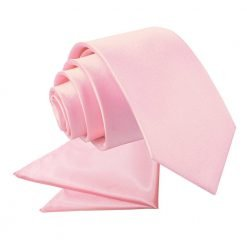 Baby Pink Plain Satin Tie & Pocket Square Set for Boys