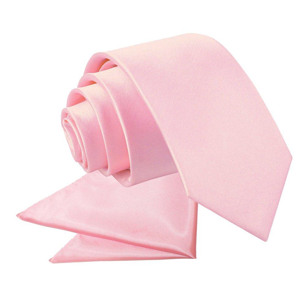 Baby Pink Plain Satin Tie Amp Pocket Square Set For Boys