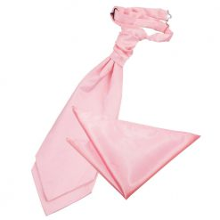 Baby Pink Plain Satin Wedding Cravat & Pocket Square Set