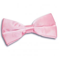 Baby Pink Plain Satin Pre-Tied Bow Tie