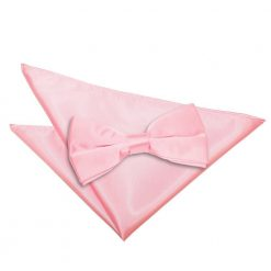Baby Pink Plain Satin Bow Tie & Pocket Square Set