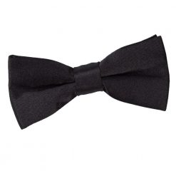 Black Plain Satin Pre-Tied Bow Tie for Boys