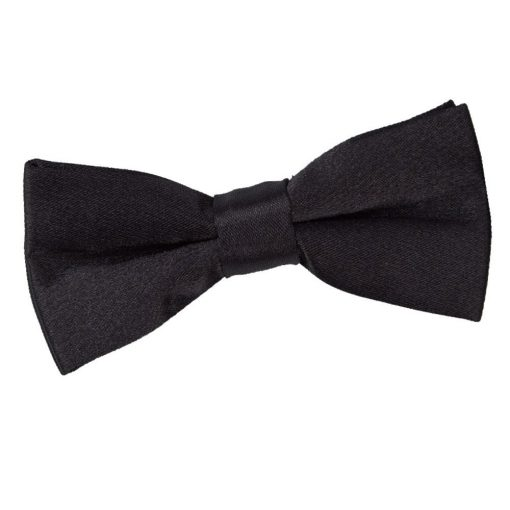 Black Plain Satin Pre-Tied Bow Tie for Boys