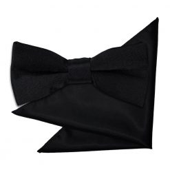 Black Plain Satin Bow Tie & Pocket Square Set for Boys