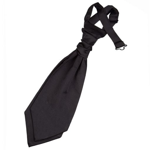 Black Plain Satin Pre-Tied Wedding Cravat for Boys